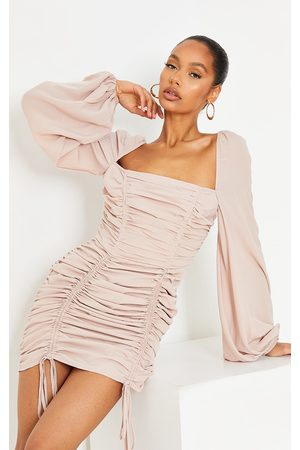 PRETTYLITTLETHING Stone Chiffon Double Ruched Bodycon Dress