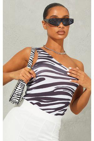 PRETTYLITTLETHING Monochrome Zebra Print Slinky One Shoulder Bodysuit