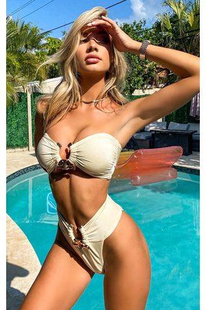 PRETTYLITTLETHING Cream Hammered Trim Bikini Top