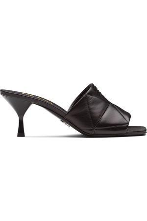 Prada Women Mules - Quilted logo plaque mid-heel mules