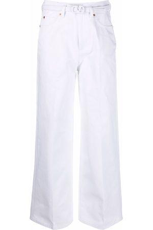 VALENTINO VLogo belt wide-leg jeans