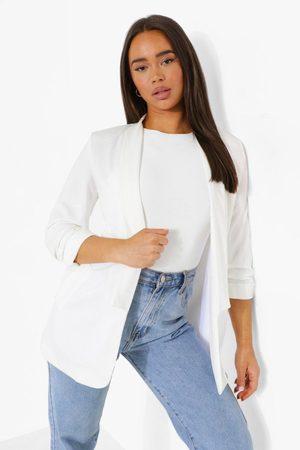 Boohoo Ruched Sleeve Tailored Blazer- Ivory