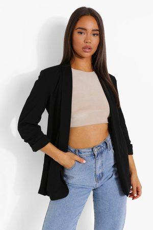 Boohoo Ruched Sleeve Tailored Blazer