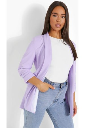 Boohoo Ruched Sleeve Tailored Blazer- Lilac