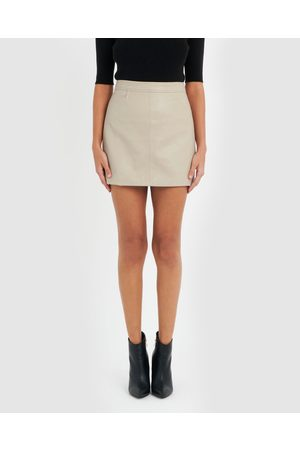 Forcast Ida Faux Leather Skirt - Leather skirts (Oyster) Ida Faux Leather Skirt