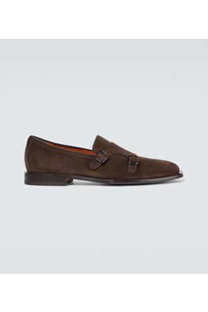 santoni Men Loafers - Double monk strap suede loafers