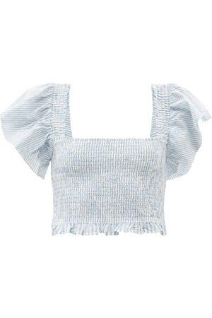 LOVESHACKFANCY Women Crop Tops - Wallace Striped Shirred Cotton Cropped Top - Womens - Stripe