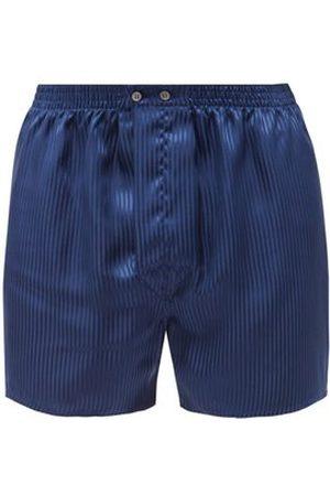 DEREK ROSE Men Boxer Shorts - Woburn Silk Boxer Shorts - Mens - Navy Stripe