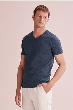 COUNTRY ROAD Pima V-Neck T-Shirt - Navy Marle