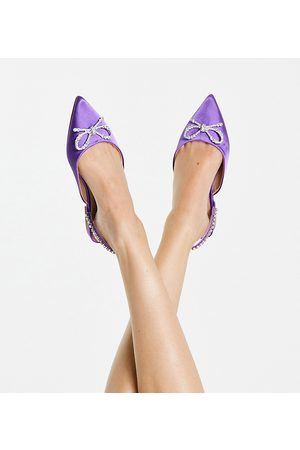 ASOS Wide Fit Liana slingback pointed flats with bow in purple satin