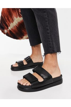 Vagabond Thongs - Erin leather double strap slides in black