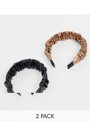 ASOS Pack of 2 ruched headbands in leather look-Multi