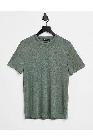 ASOS T-shirt in khaki linen mix-Green