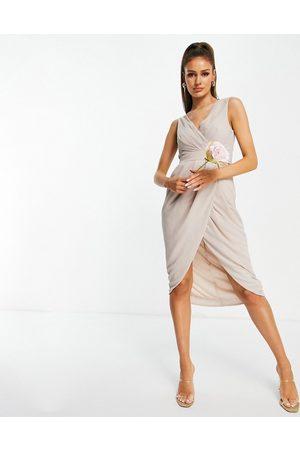TFNC Women Midi Dresses - Bridesmaid wrap midi dress in pink