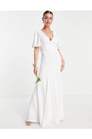 ASOS Victoria flutter sleeve crepe wedding dress-White