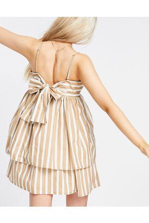 ASOS Bandeau double layer tie back mini sundress with detachable straps in stripe print-Multi