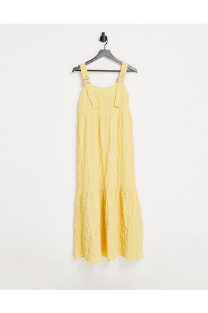 ASOS Overall midi sundress in bubble texture in yellow