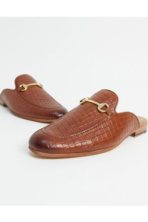 WALK LONDON Loafers - Terry backless mule loafers in tan embossed leather-Brown