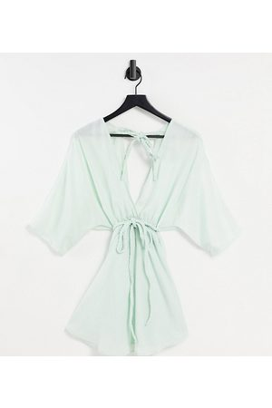 ASOS ASOS DESIGN maternity plait-belted beach cover-up in silky mint-Blue