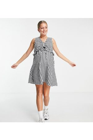 ASOS ASOS DESIGN Maternity nursing double layer mini sundress with ruched detail in gingham-Multi