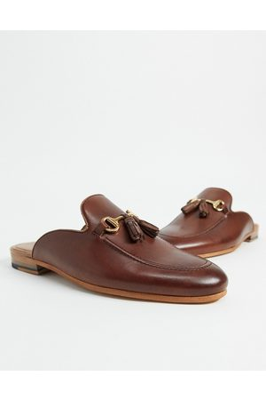 WALK LONDON Terry tassel bar backless mule loafers in brown leather