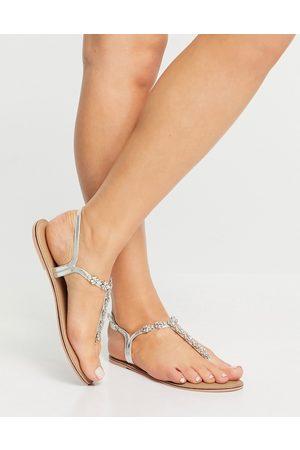 Accessorize Reno embellished rhinestone t-bar flat sandals in silver