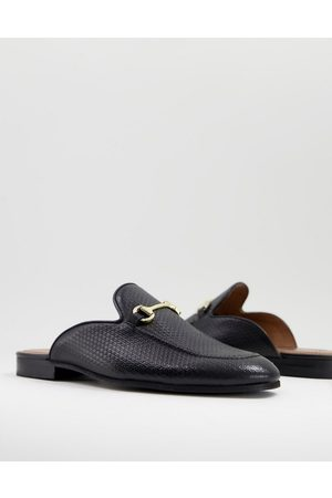 WALK LONDON Terry backless mule loafers in black embossed leather