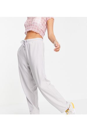 COLLUSION Unisex oversized trackies with elasticated hem in light grey co-ord