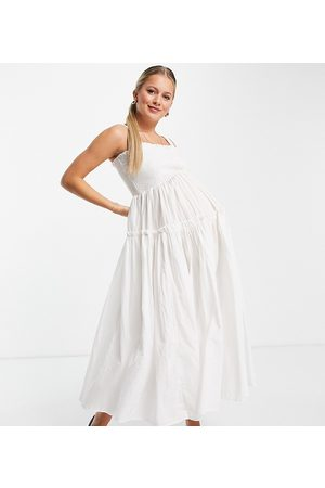 ASOS ASOS DESIGN Maternity shirred cami midi sundress with raw edges in white