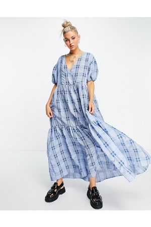Object Check maxi smock dress in blue