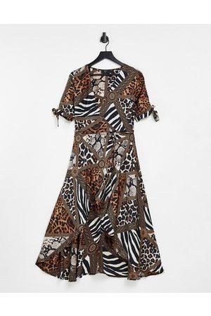 Ax Paris Women Party Dresses - Plunge wrap dress in mix & match animal-Multi