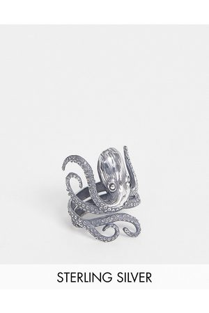 ASOS Sterling silver ring with octopus design in burnished silver