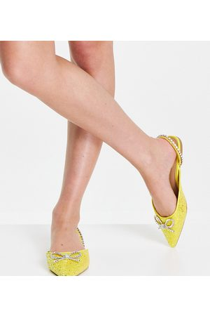 ASOS Wide Fit Liana slingback pointed flats with bow in yellow glitter