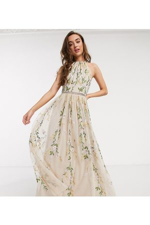 ASOS ASOS DESIGN Petite halterneck pretty embroidered floral and sequin mesh maxi dress in soft beige-Multi