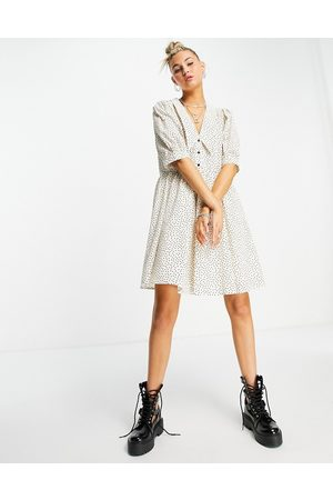 Object Women Printed Dresses - Organic cotton mini smock dress with collar in spot print-White
