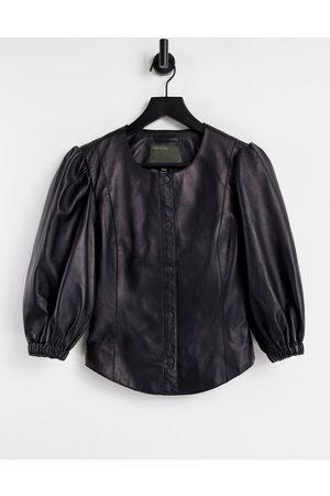 Muubaa Volume sleeve collarless leather top in black