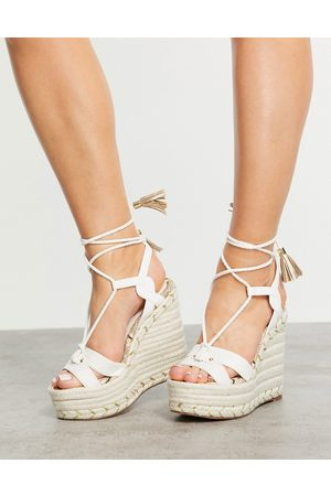 River Island Tie-up heeled espadrille wedge sandal in white
