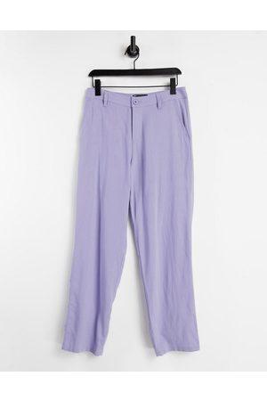 ASOS Linen mix baggy pants in purple