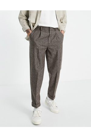 ASOS Oversized tapered wool mix smart pants in stone puppytooth-Neutral