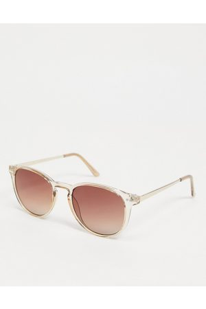 VERO MODA Clear square sunglasses with brown tinted lenses