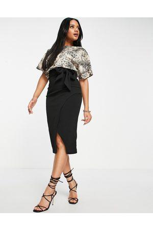 Lipsy London 2-in-1 pencil dress in animal-Multi