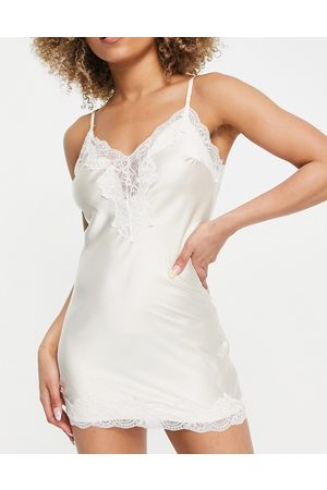 Love & Other Things Satin nightdress with lace trim-Neutral