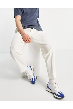 ASOS Tapered smart pants in white crinkle cotton linen