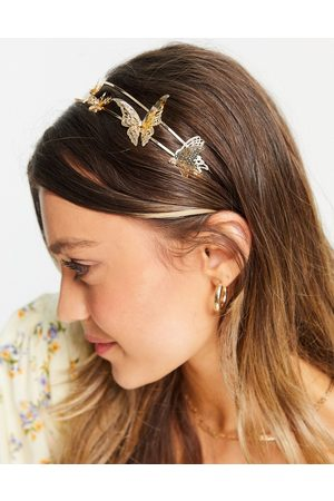 ASOS Metal headband with butterfly detail-Gold