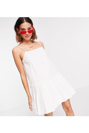 COLLUSION Pleated hem cami mini sundress in white