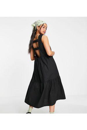 COLLUSION Strap back midi smock sundress in black