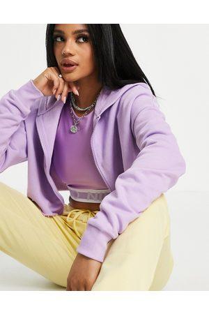 ASOS Hoodies - Super crop zip-through hoodie in lilac-White