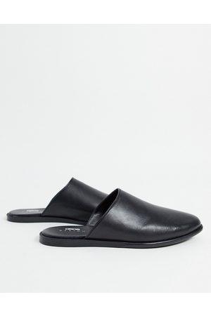 ASOS Backless mule loafer in black leather on black sole