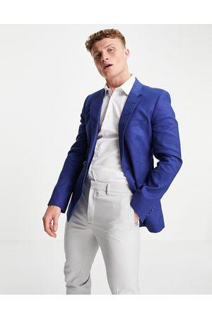 ASOS Jackets - Wedding skinny suit jacket in navy cotton linen