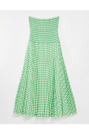 ASOS Bandeau pleated maxi dress in gingham-Multi